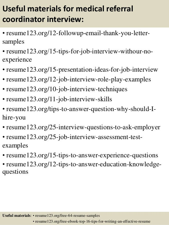 ... 14. Useful Materials For Medical Referral Coordinator ...