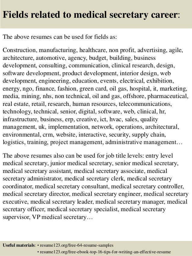 16 fields related to medical secretary
