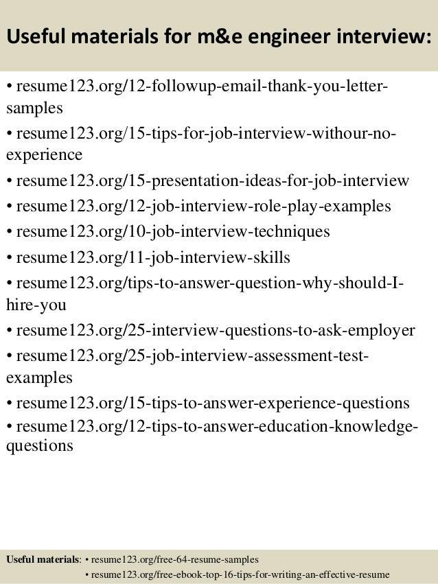 Top 8 m&e engineer resume samples