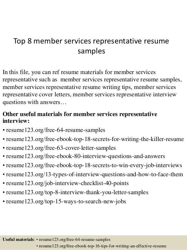 Top 8 Member Services Representative Resume Samples In This File, You Can  Ref Resume Materials ...