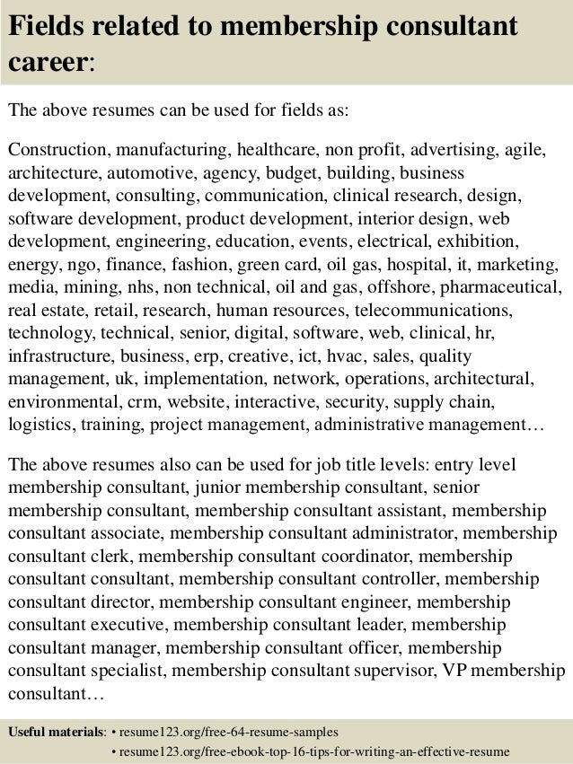 Top 8 membership consultant resume samples