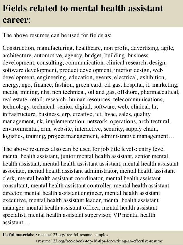 mental health resume examples