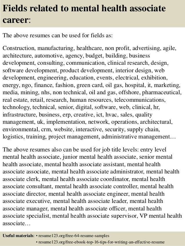 16 fields related to mental health - Behavioral Health Specialist Sample Resume