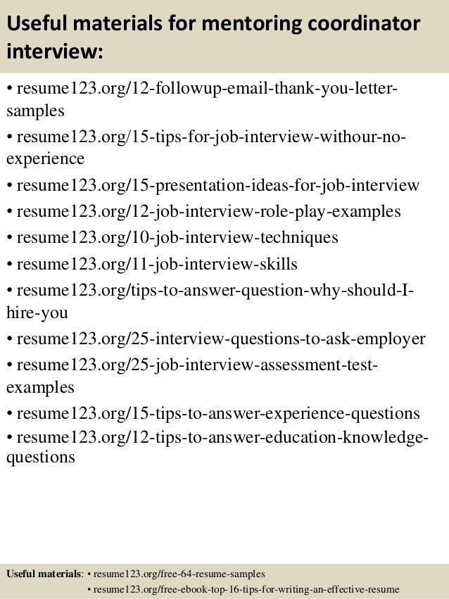top 8 mentoring coordinator resume samples