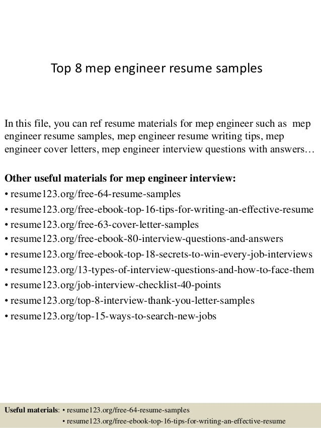 top 8 mep engineer resume samples