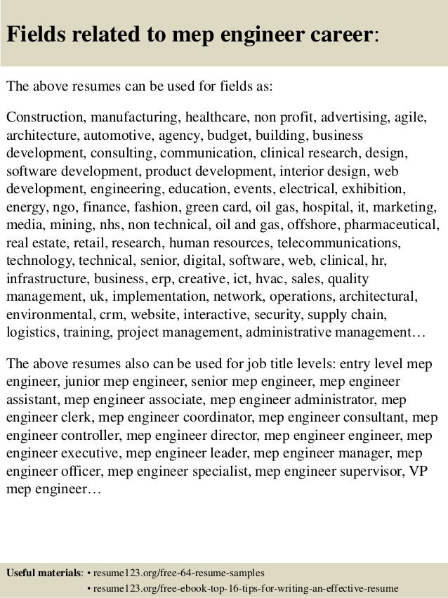 ... 16. Fields Related To Mep Engineer Career: The Above Resumes ...