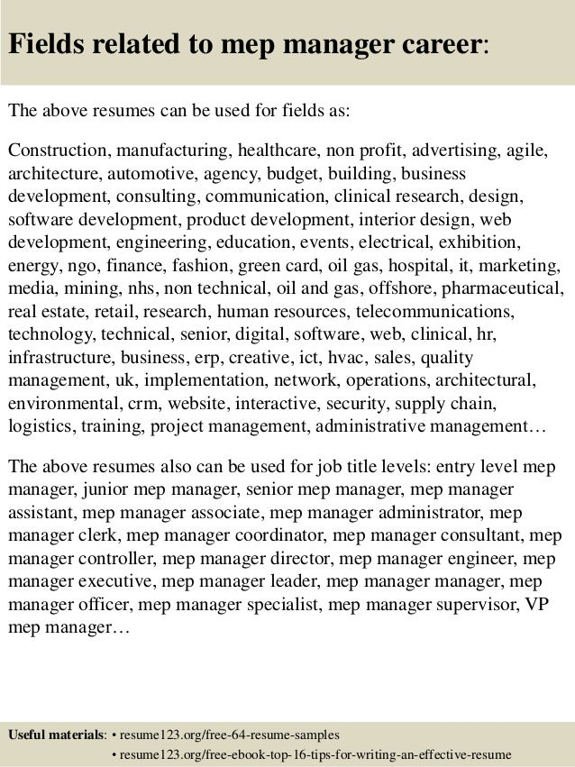 top 8 mep manager resume sles