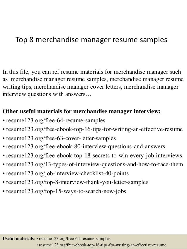 Top 8 merchandise manager resume samples
