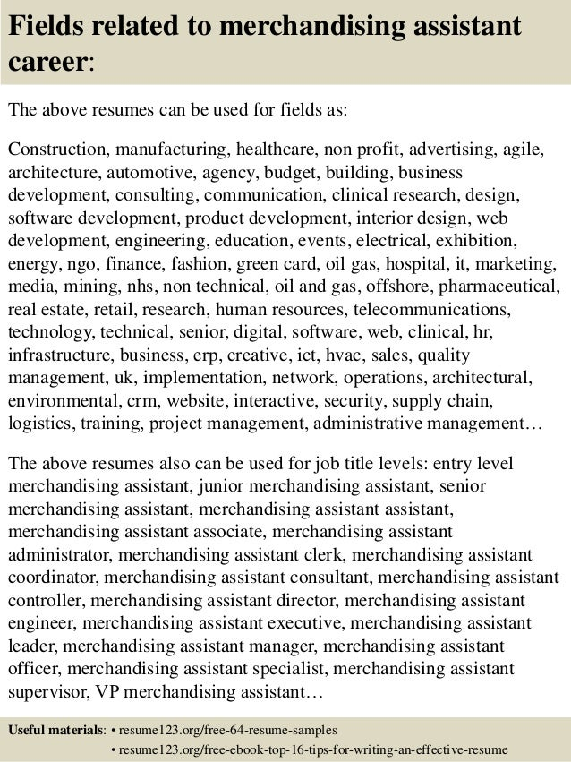 ... 16. Fields Related To Merchandising Assistant ...