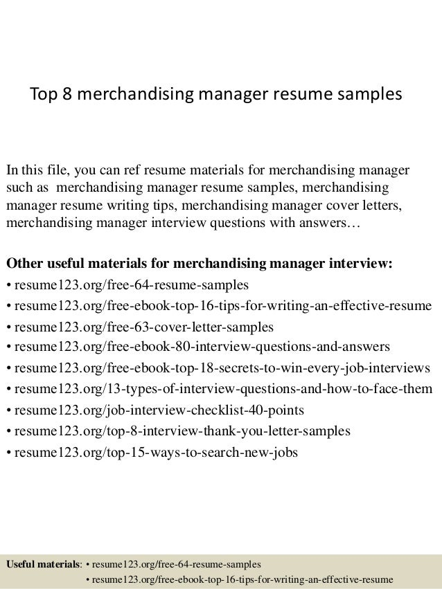 Beautiful Top 8 Merchandising Manager Resume Samples In This File, You Can Ref Resume  Materials For ...