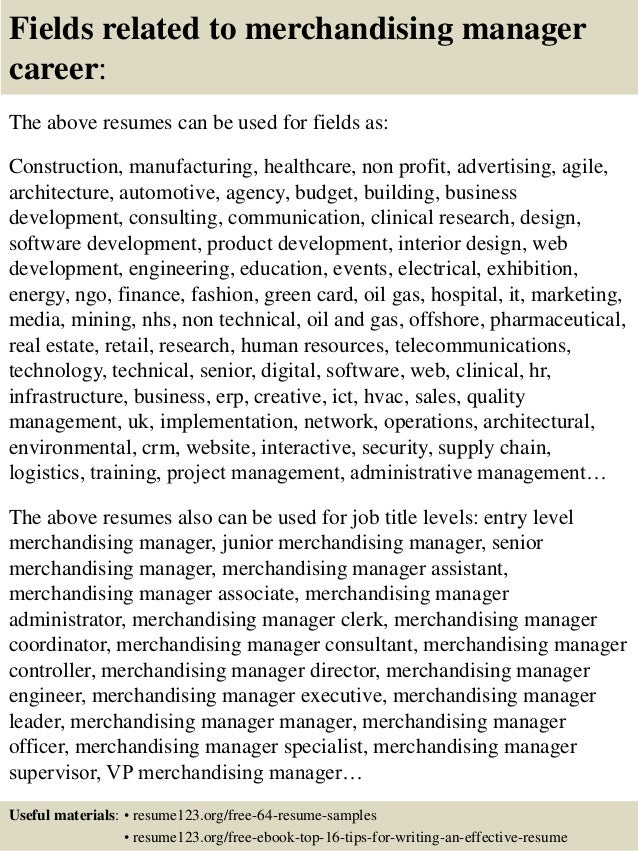 16 fields related to merchandising manager - Merchandising Manager Resume