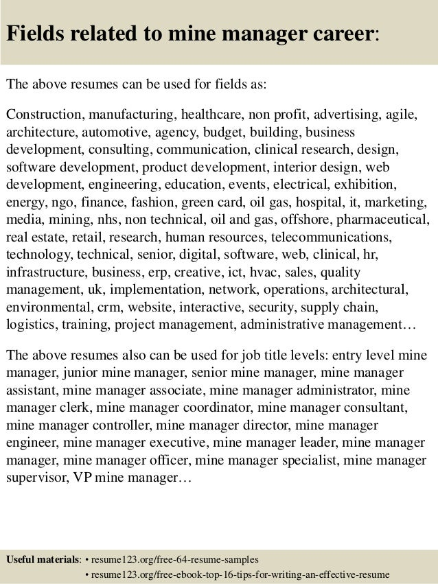 Top 8 mine manager resume samples