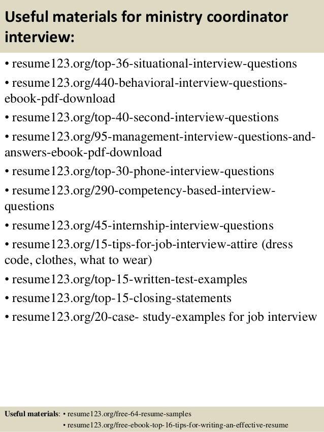 top 8 ministry coordinator resume samples
