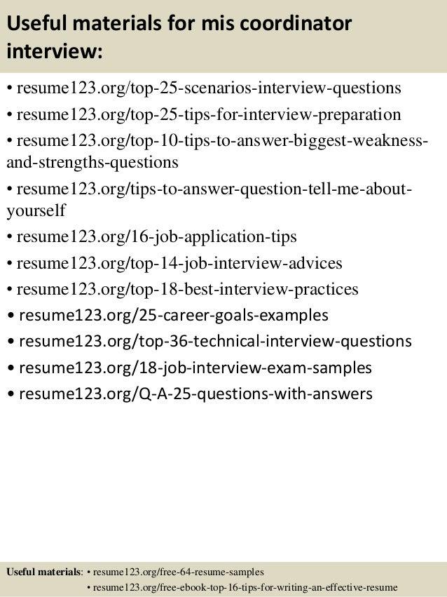 Top 8 mis coordinator resume samples – Mis Resume Sample