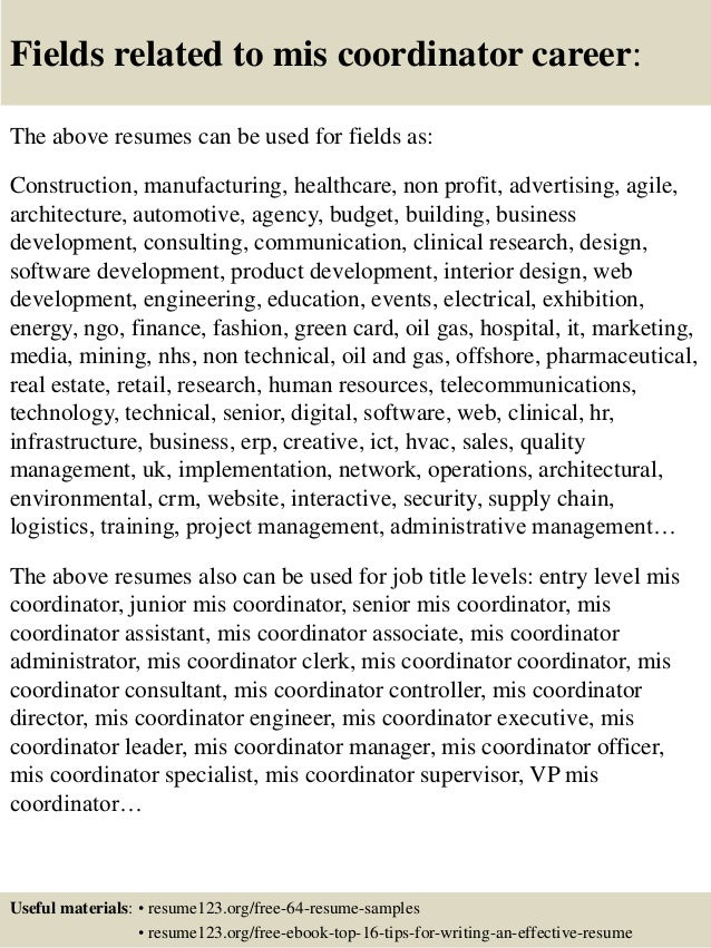 ... 16. Fields Related To Mis Coordinator ...