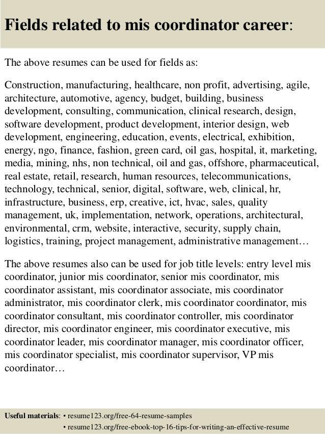 Mis Resume Samples  Office Coordinator Resume Sample