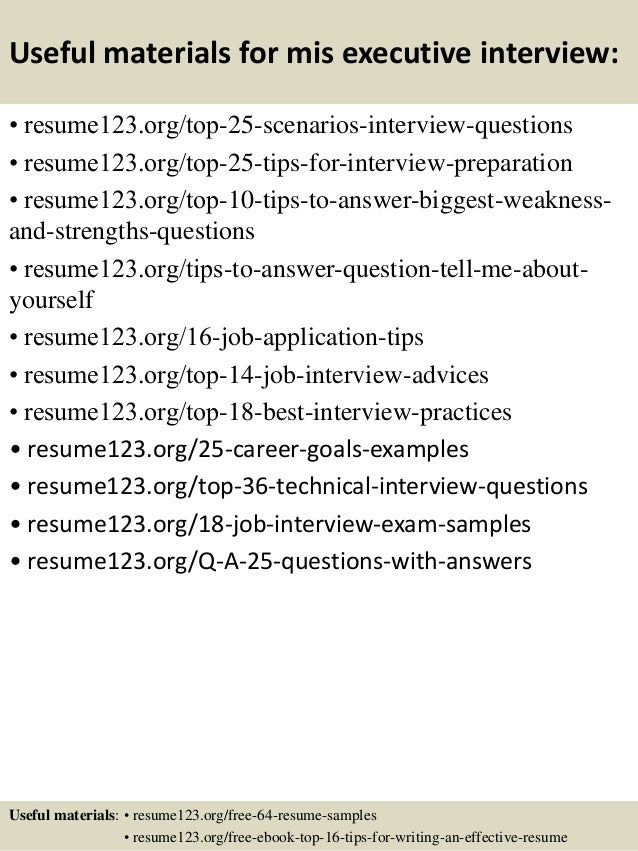 mis executive resume sample