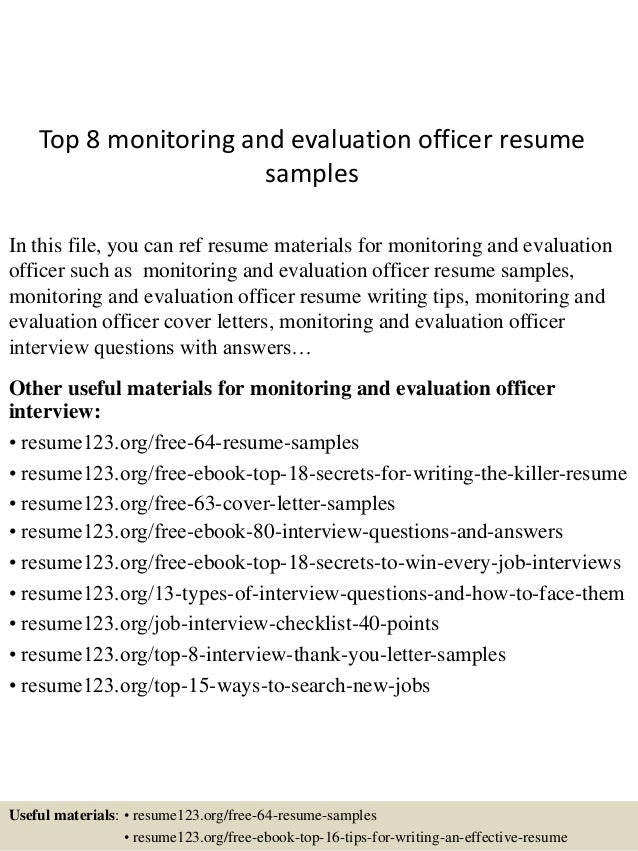 top 8 monitoring and evaluation officer resume samples in this file you can ref resume