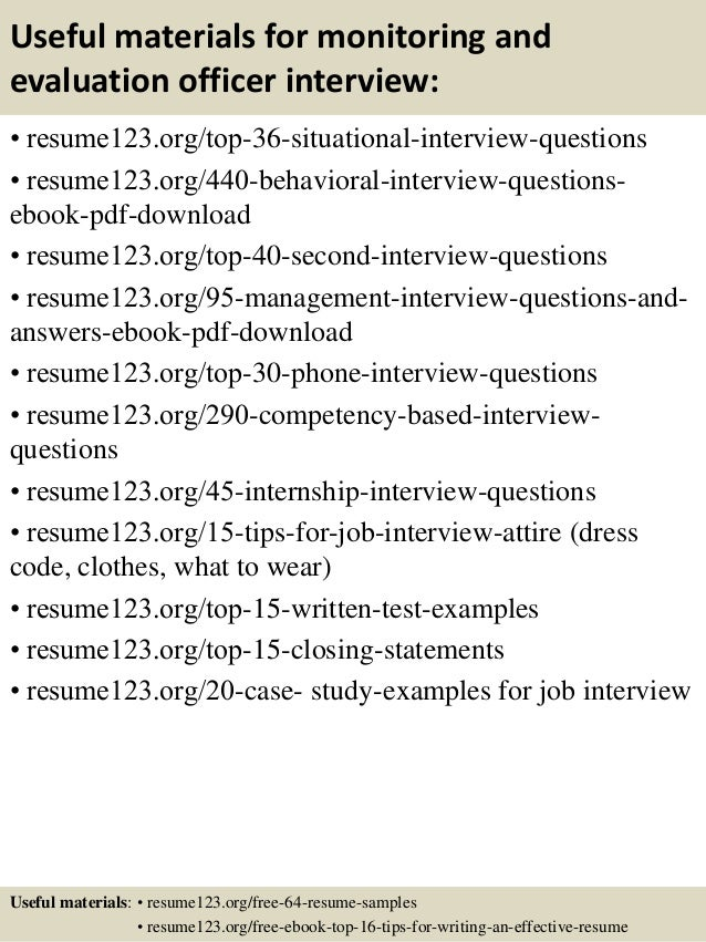 Top  Monitoring And Evaluation Officer Resume Samples - Resume evaluation
