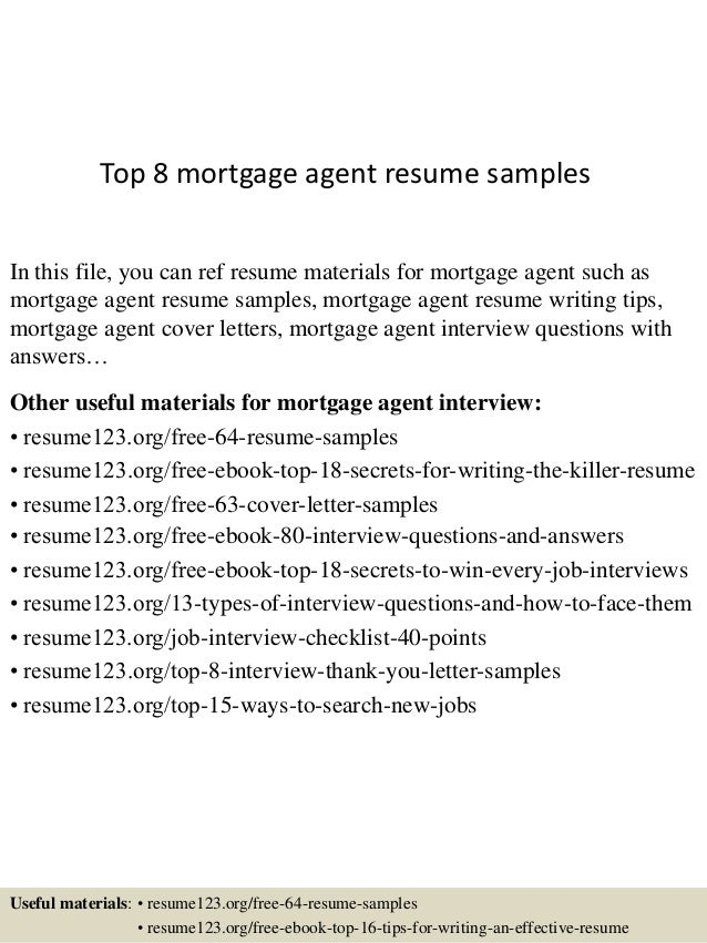 top 8 mortgage agent resume samples