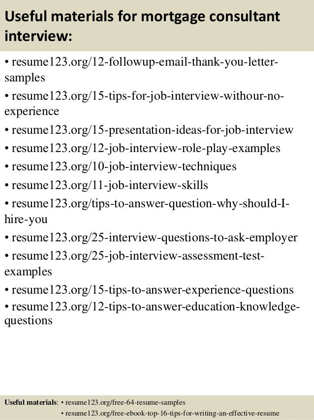 14 useful materials for mortgage consultant - Mortgage Consultant Sample Resume