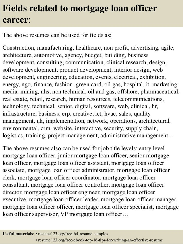 16 fields related to mortgage loan officer