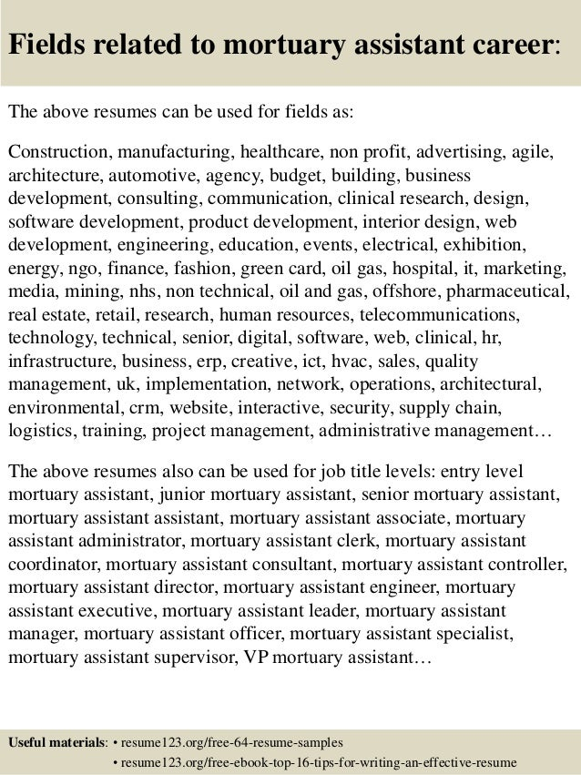 ... 16. Fields Related To Mortuary Assistant ...