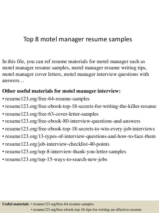 Motel manager resume
