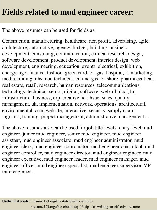 Top  Mud Engineer Resume Samples