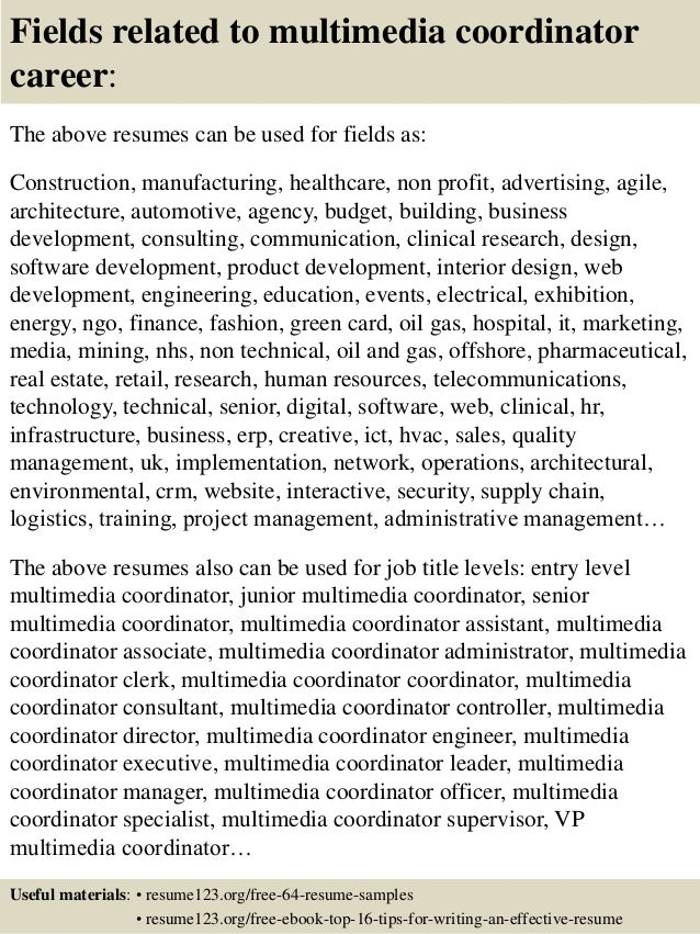 16 fields related to multimedia - Sample Multimedia Cover Letter