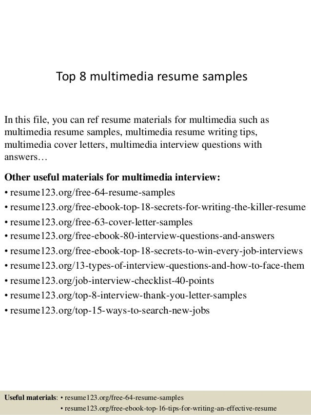 top 8 multimedia resume samples in this file you can ref resume materials for multimedia - Multimedia Resume Examples
