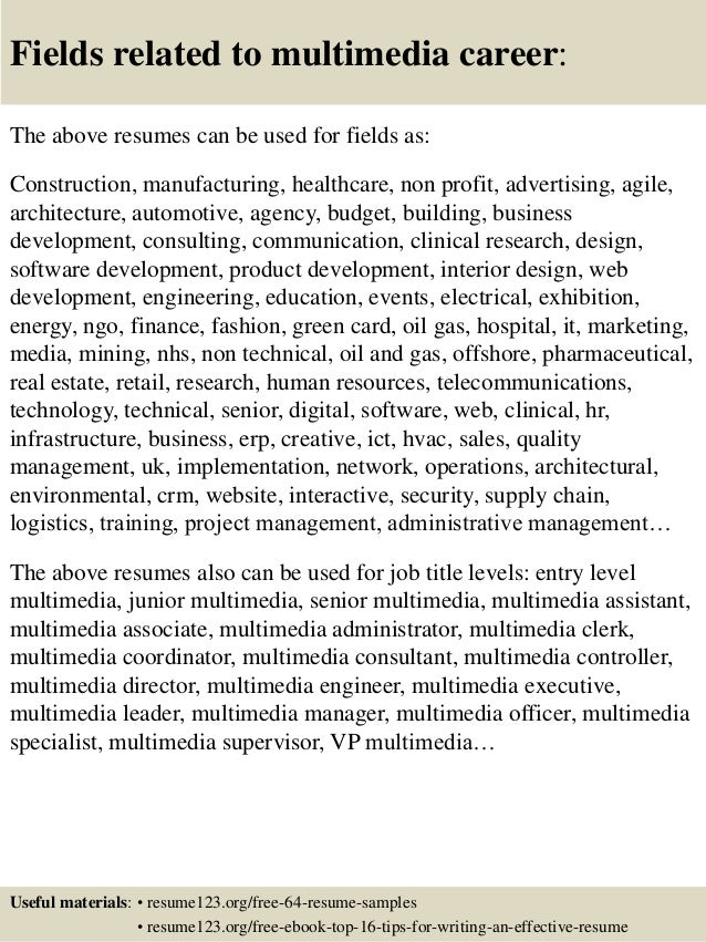 top 8 multimedia resume samples