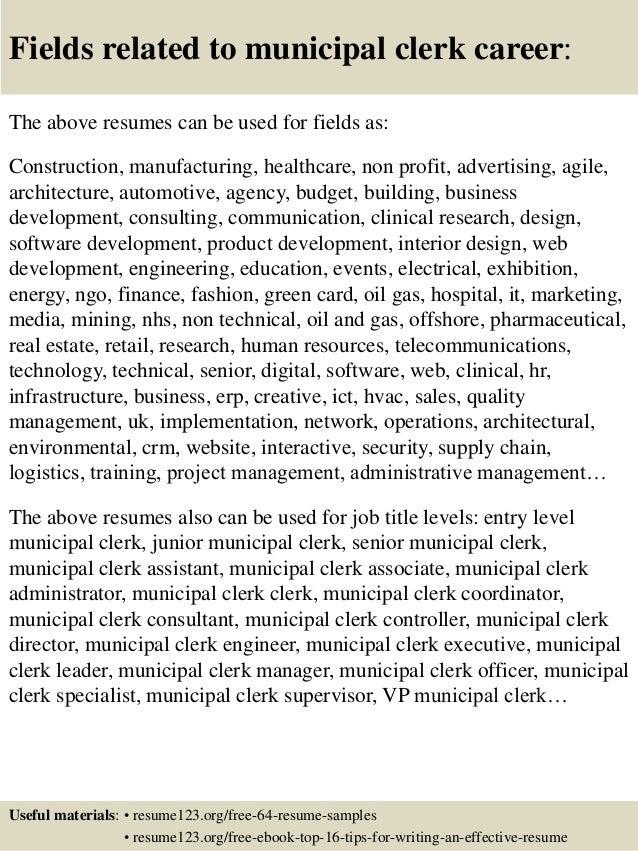 16 fields related to municipal - Municipal Engineer Sample Resume