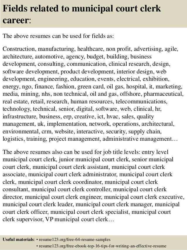 ... 16. Fields Related To Municipal Court Clerk ...  Court Clerk Resume
