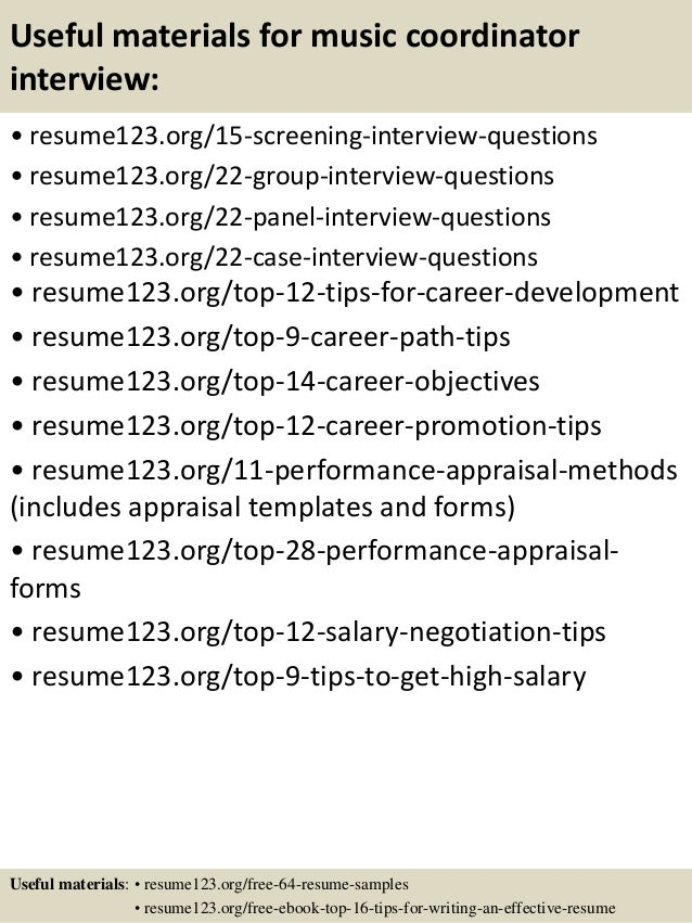 15 useful materials for music - Music Administration Sample Resume