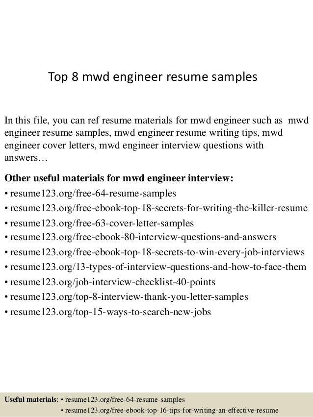 mwd engineer resume