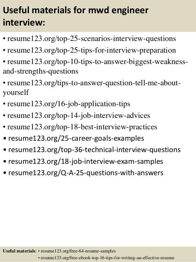 13 useful materials for mwd engineer - Mwd Field Engineer Sample Resume