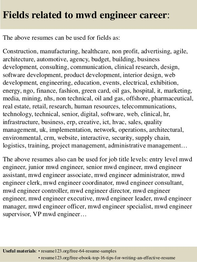 Top 8 Mwd Engineer Resume Samples