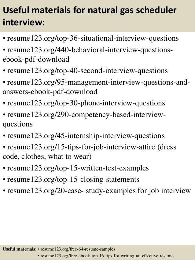 top 8 natural gas scheduler resume samples