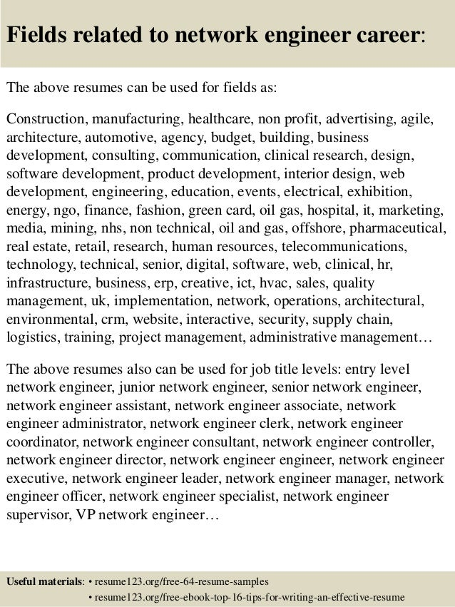 16 fields related to network engineer - Network Engineer Resume Objective