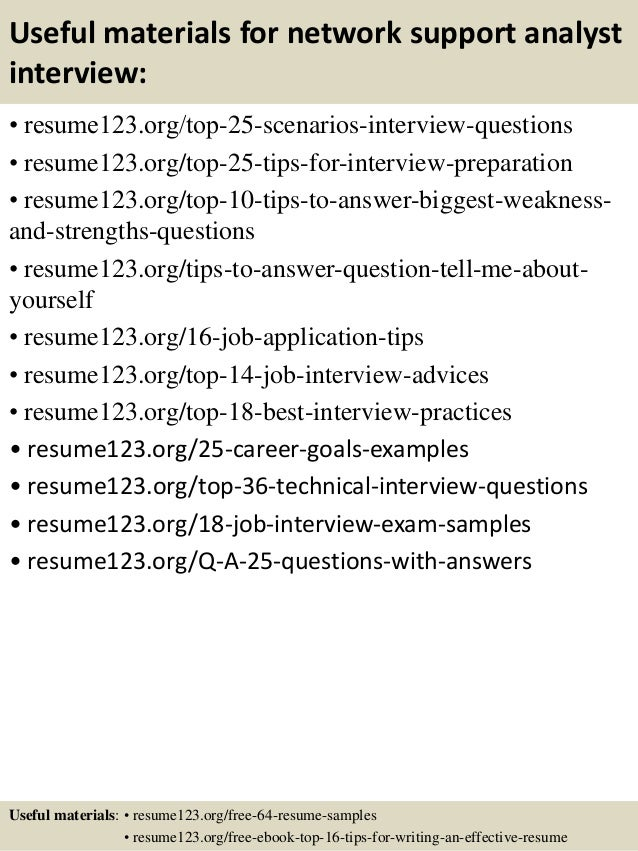 Top 8 Network Support Analyst Resume Samples