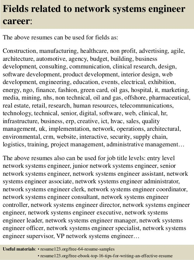 16 fields related to network systems engineer