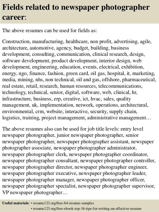 sample photographer resumes