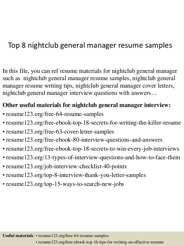 Top 8 nightclub general manager resume samples