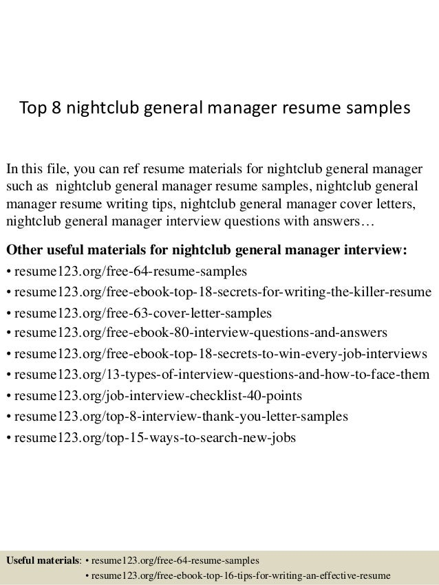 Top 8 Nightclub General Manager Resume Samples In This File, You Can Ref  Resume Materials ...