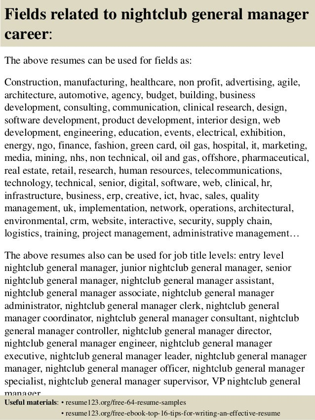 16 Fields Related To Nightclub General Manager