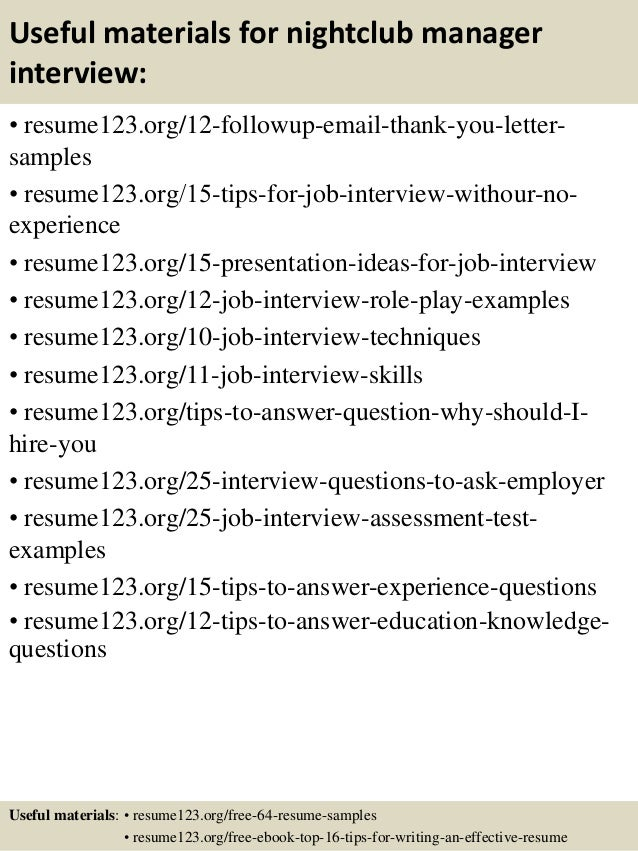 top 8 nightclub manager resume samples