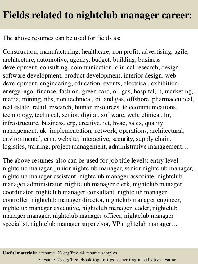 ... 16. Fields Related To Nightclub Manager ...