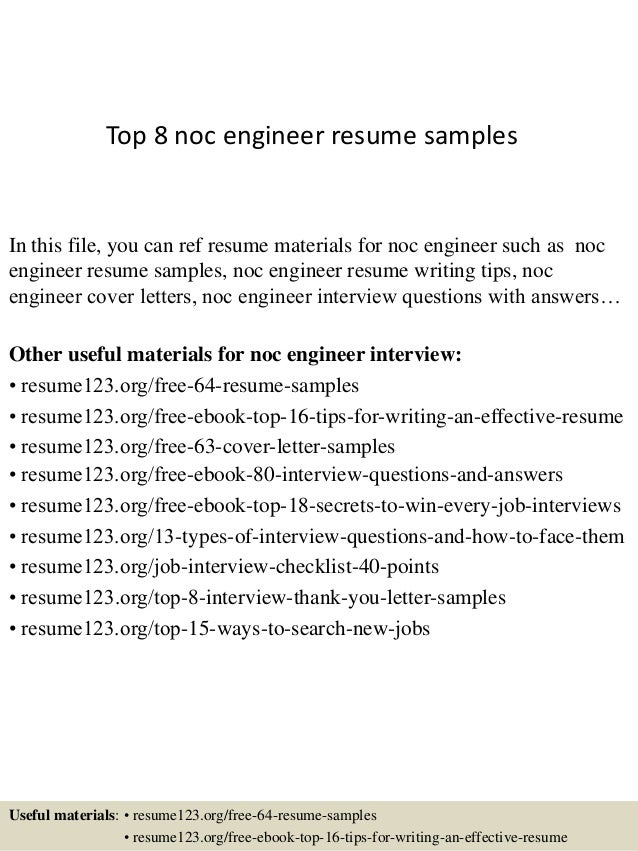 Perfect Top 8 Noc Engineer Resume Samples In This File, You Can Ref Resume  Materials For ...