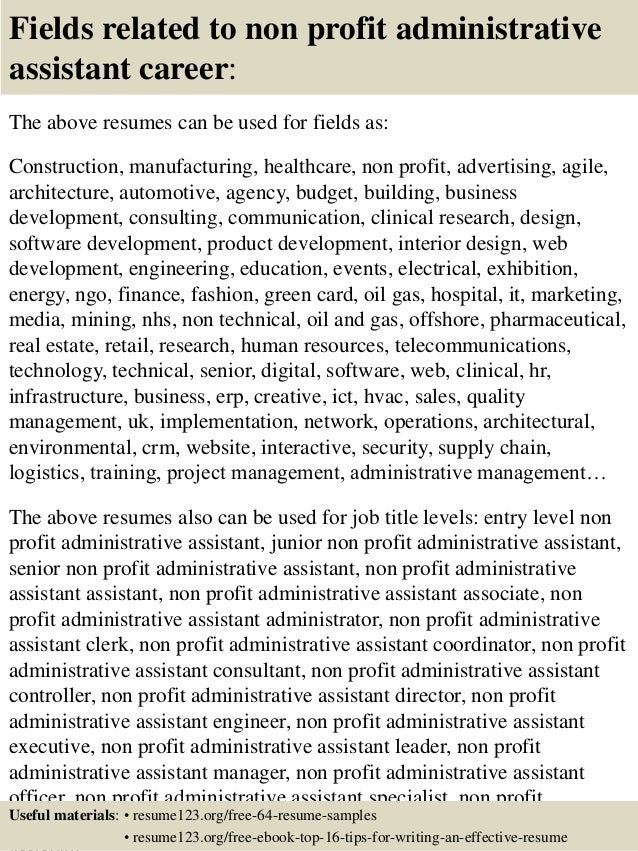 16 fields related to non profit administrative assistant - Administrative Assistant Resume Sample